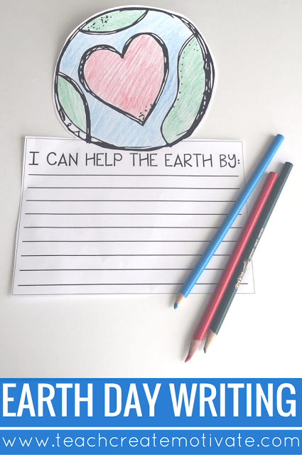 Earth Day writing craftivity for students in the upper elementary classroom