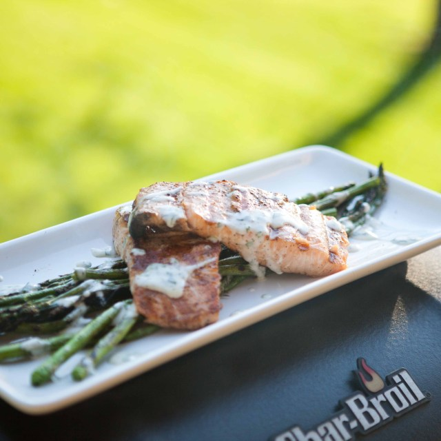 Grilling Salmon & Asparagus with Mayo