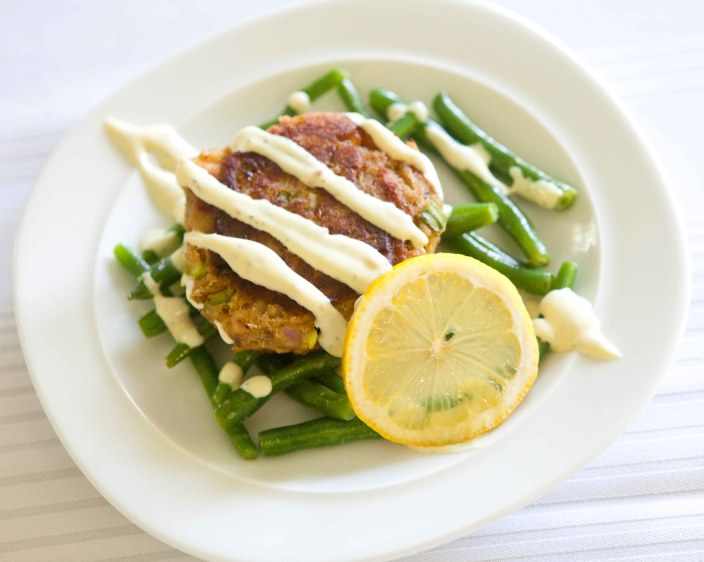 Salmon Cake with Dill Mustard Beans and sauce