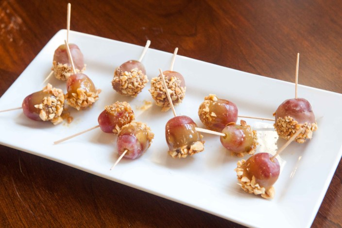 Caramel Apple Grapes with crushed Peanuts