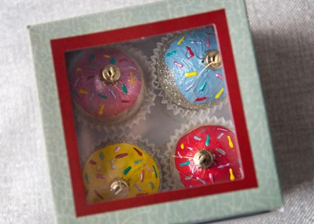 box of cupcake ornaments