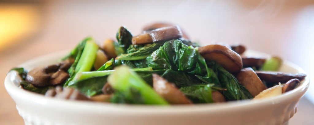 hot spicy greens with garlic and mushroom