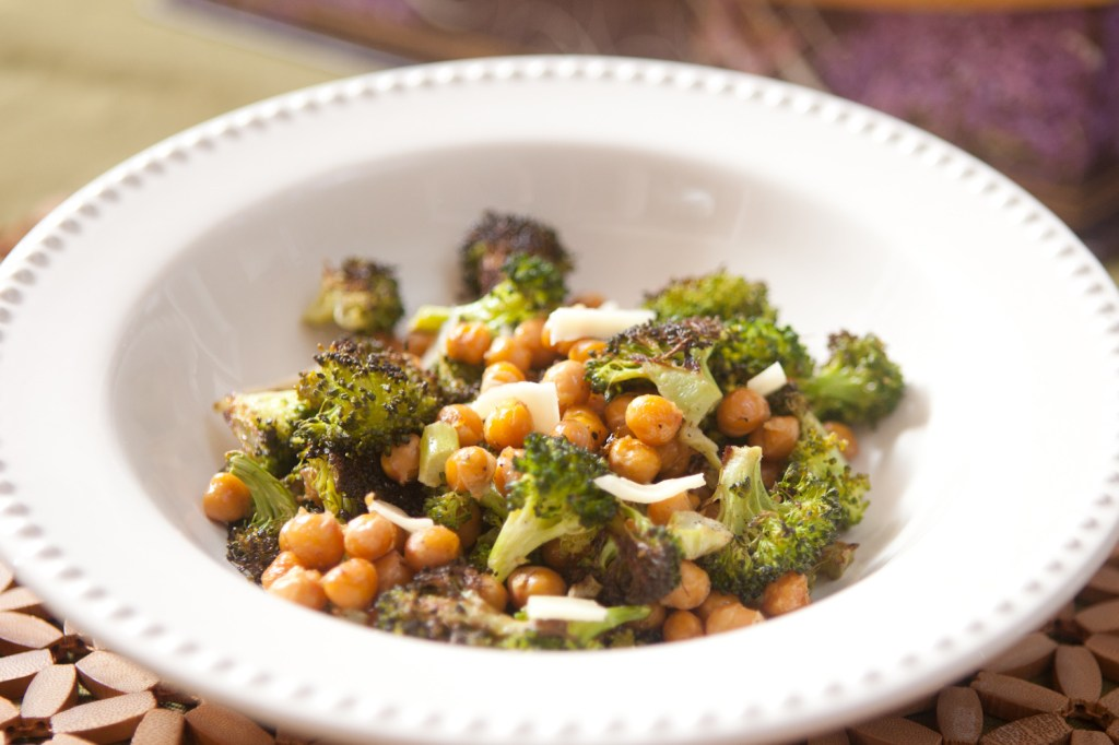 roasted broccoli and chick pea