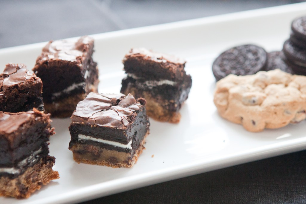triple layer brownies with cookies and oreos