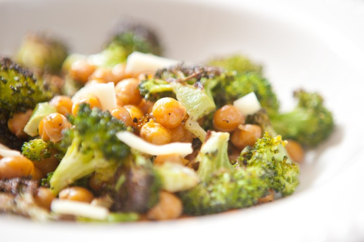 vegan chick pea and broccoli roast dinner