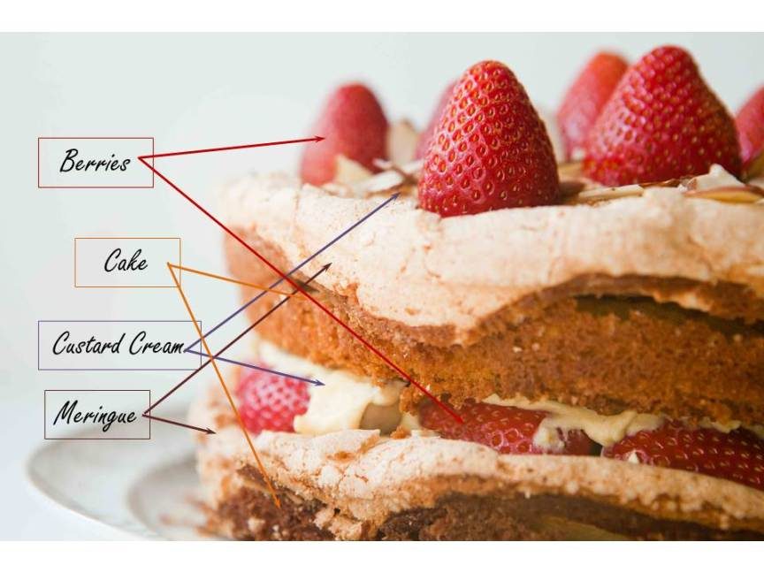 strawberry vanilla custard meringue cake layer breakdown - teacher-chef-4520