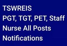 TSWREIS- 2136 PGT, TGT, PET, Staff Nurse All Posts Notification
