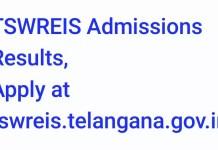 TSWREIS Admissions Results 2018 Apply at tswreis.telangana.gov.in