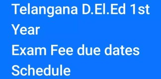 Telangana D.El.Ed 1st Year Exam Fee due dates Schedule