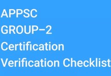 APPSC GROUP-2 Certification Verification Checklist from 03/01/2018 to 20/01/2018