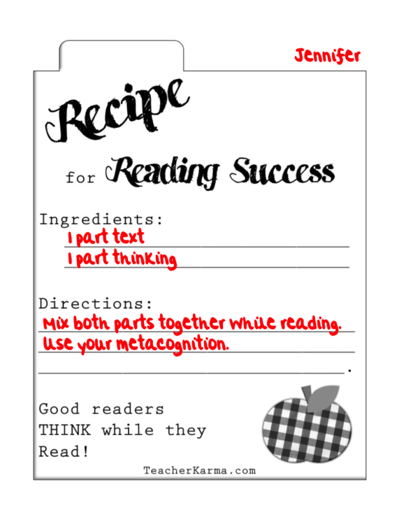 Secret Recipe For Reading Success Freebie