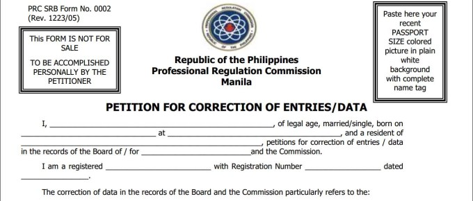 PRC SRB Form No. 0002 - Petition for correction of entries or data