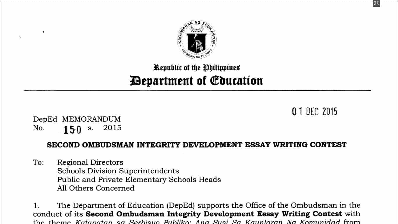 second ombudsman integrity development essay writing contest second ombudsman integrity development essay writing contest teacherph