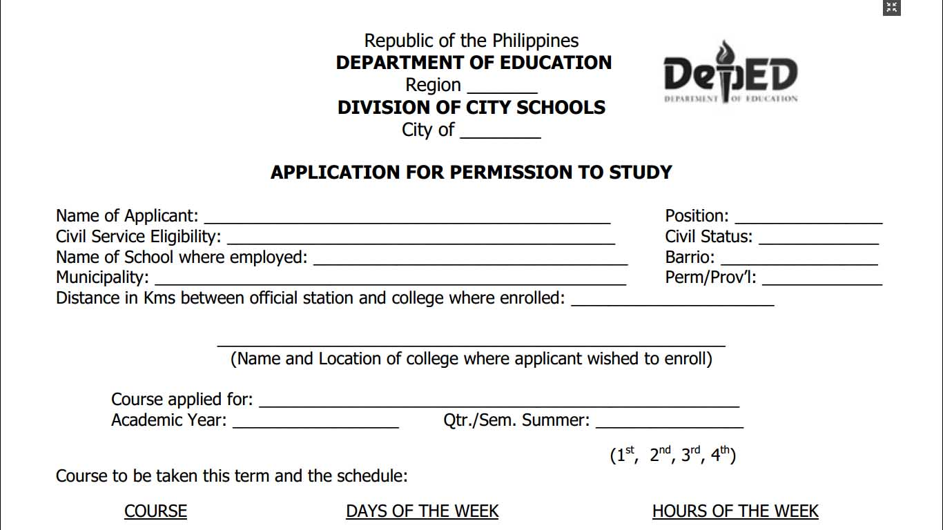 Application for permission to study form teacherph thecheapjerseys Choice Image