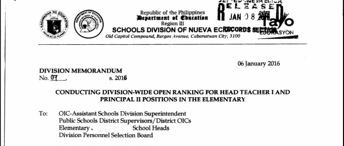 DepEd Nueva Ecija 2016 Division-Wide Open Ranking for Head Teacher I and Principal II Positions in the Elementary