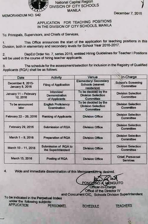 division of city schools manila application for teaching positions