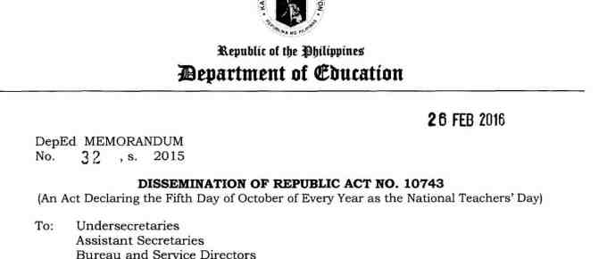 Declaring the Fifth Day of October of Every Year as the National Teachers' Day