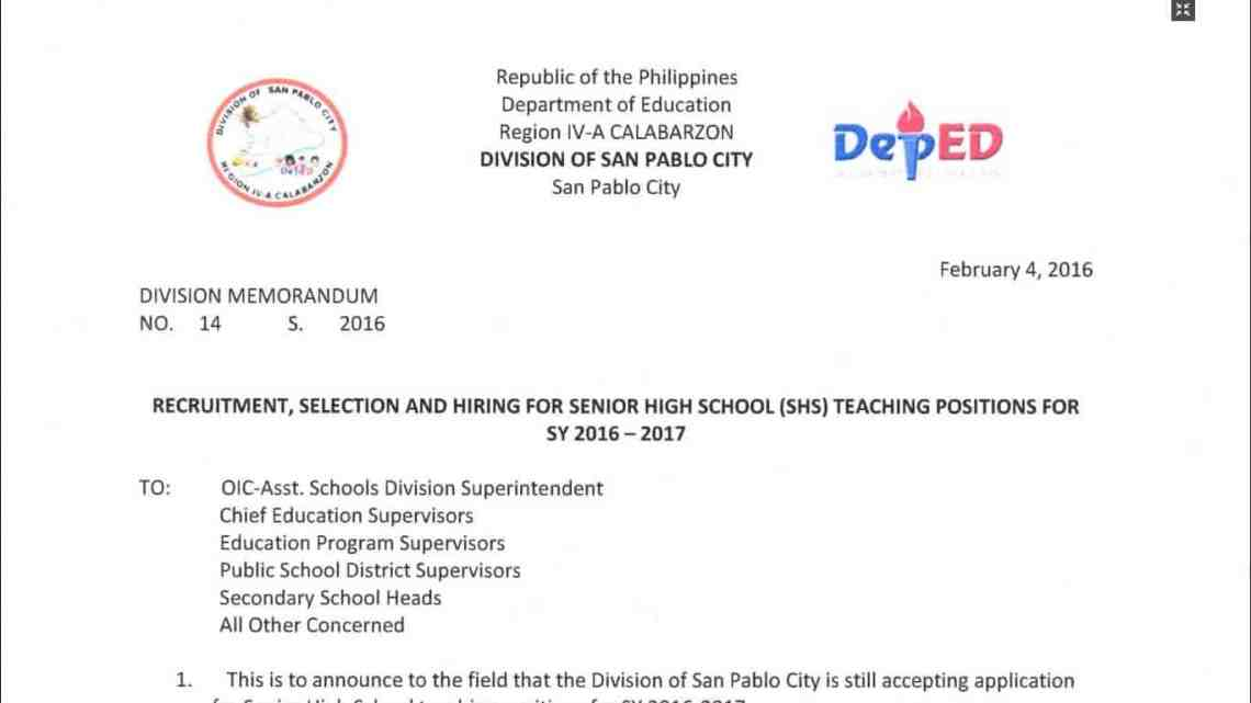 Sample Application Letter For Teacher Deped on