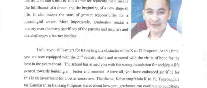 2016 Graduation Message of Jesnar Dems S. Torres OIC- Schools Division