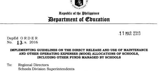 2016 Guidelines on the Direct Release of Maintenance and Other Operating Expenses (MOOE)