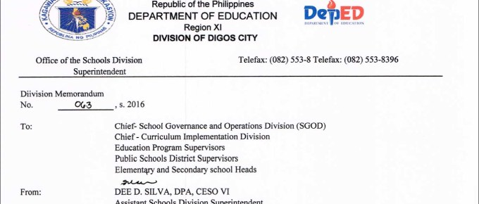 DepEd Digos City 2016 Ranking of Teacher 1 Applicants