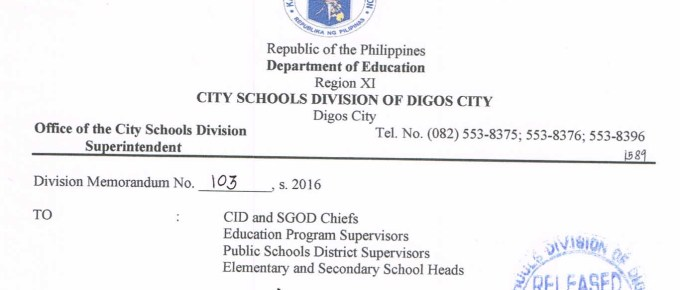 DepEd Digos City Reinforcement of DepEd Order Nos. 7 and 22, s. 2015 as the Hiring Guidelines for Kindergarten to Grade 10 Teaching Positions