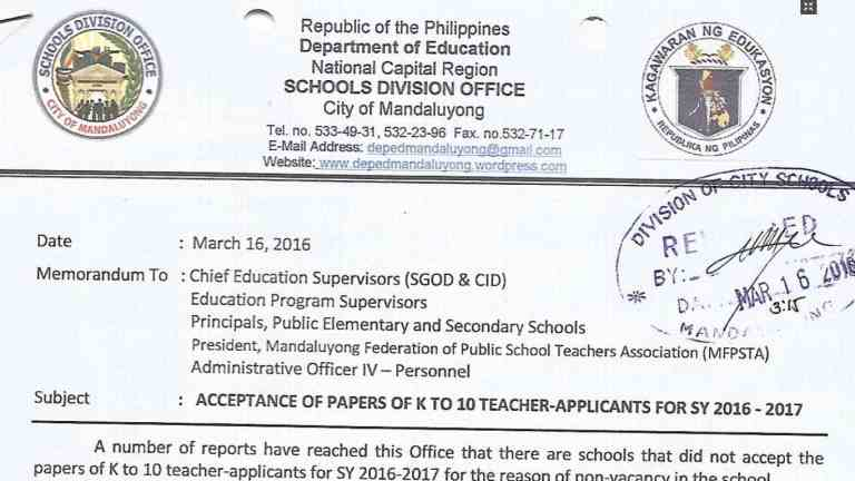 DepEd Mandaluyong Acceptance of Papers of K to 10 Teacher-Applicants for SY 2016-2017