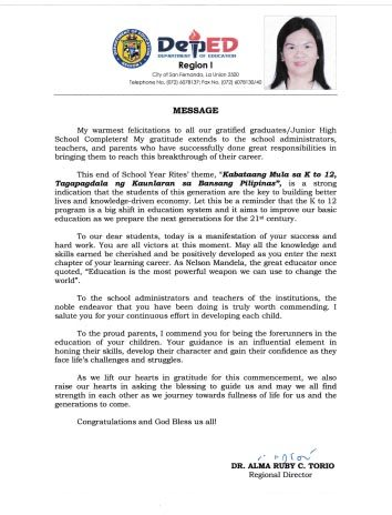 Graduation Message of Regional Director Alma Ruby C. Torio - English Version