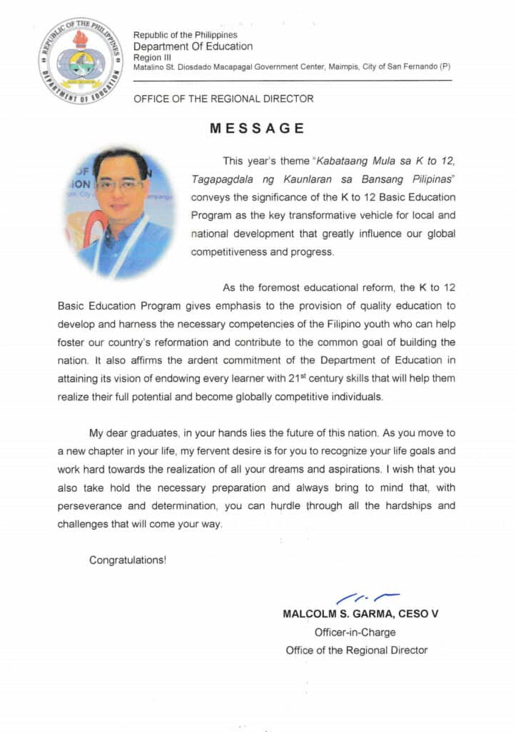 Graduation Message of Regional Director Malcolm Garma Full Copy