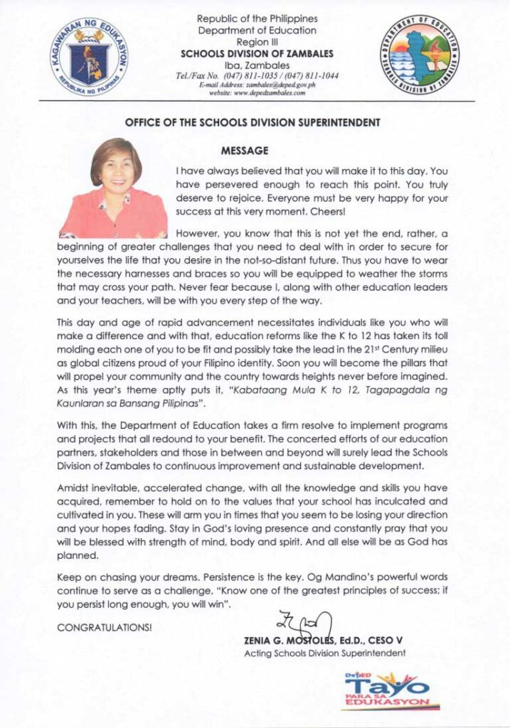 Graduation Message of Schools Division Superintendent Zenia Mostoles