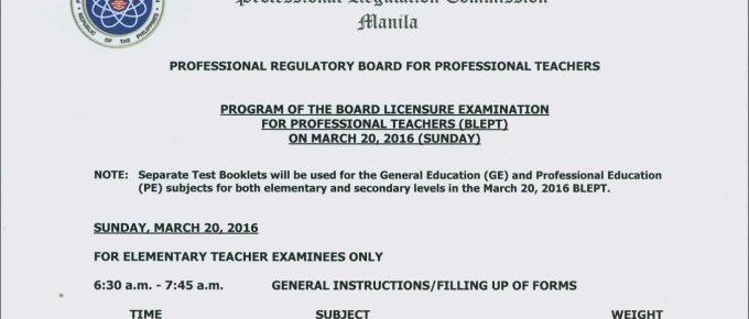 March 2016 Program of the Board Licensure Examination for Professional Teachers