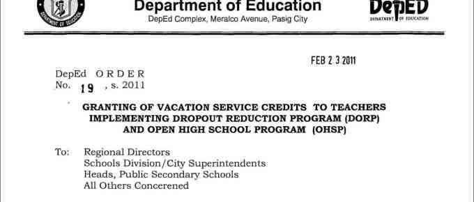 Granting of Vacation Service Credits to Teachers Implementing Dropout Reduction Program (DORP) and Open High School Program (OHSP)