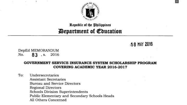 Government Service Insurance System Scholarship Program Covering Academic Year 2016-2017