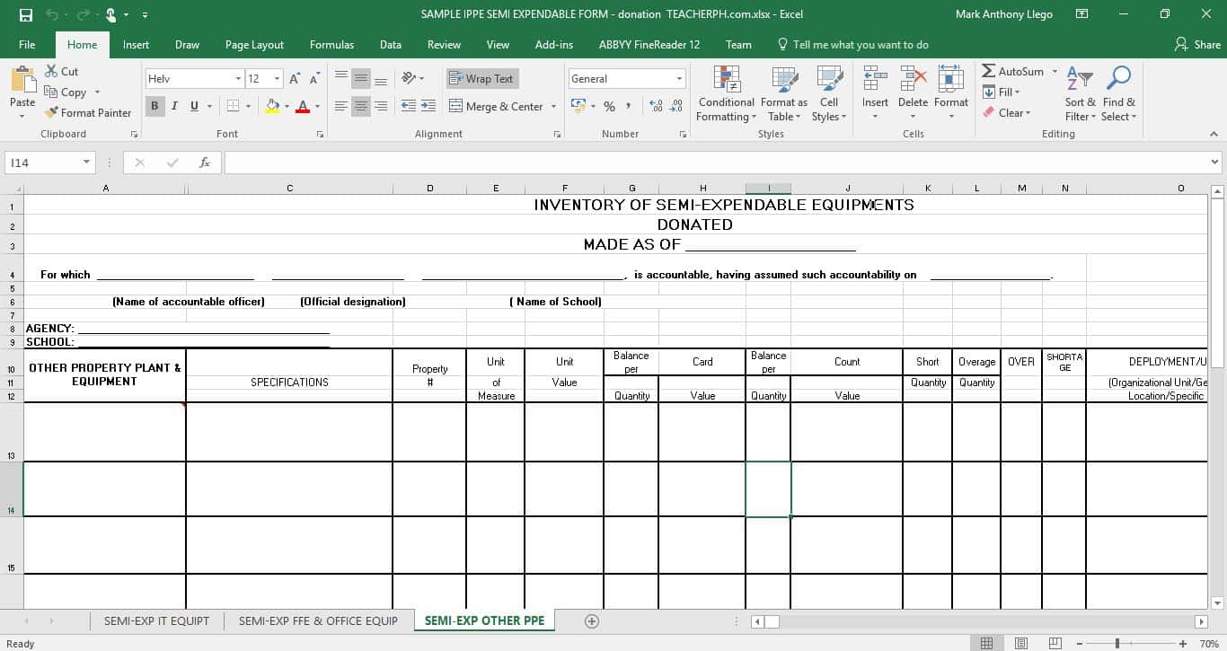 Inventory of Property Plant and Equipment (IPPE) EXPENDABLE FORM - DONATIONInventory of Property Plant and Equipment (IPPE) EXPENDABLE FORM - DONATION