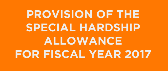 Provision of the 2017 Special Hardship Allowance