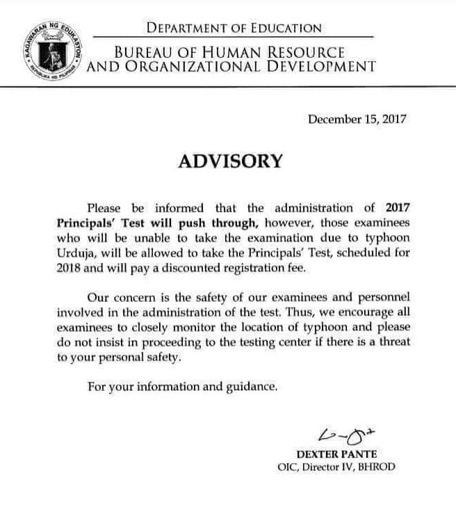 2017 Principals' Test Advisory - Typhoon Urduja