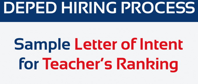 Sample Letter of Intent for Teacher's Ranking