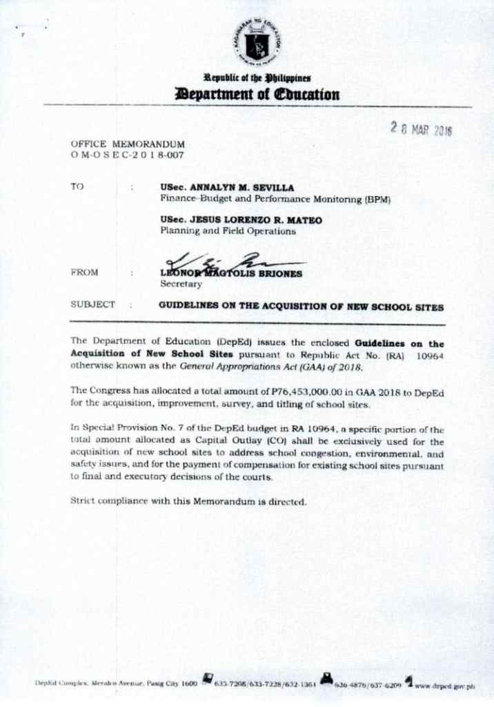 DepEd Guidelines on the Acquisition of New School Sites