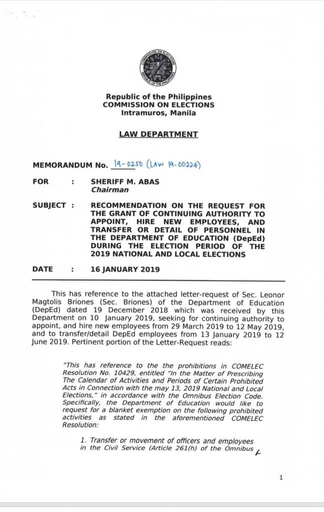 COMELEC Grants DepEd Continuing Authority to Appoint, Hire and Transfer Personnel During the Election Period