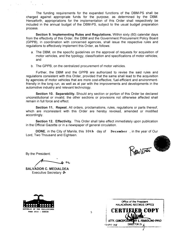 Rules on the Acquisition of Government Motor Vehicles