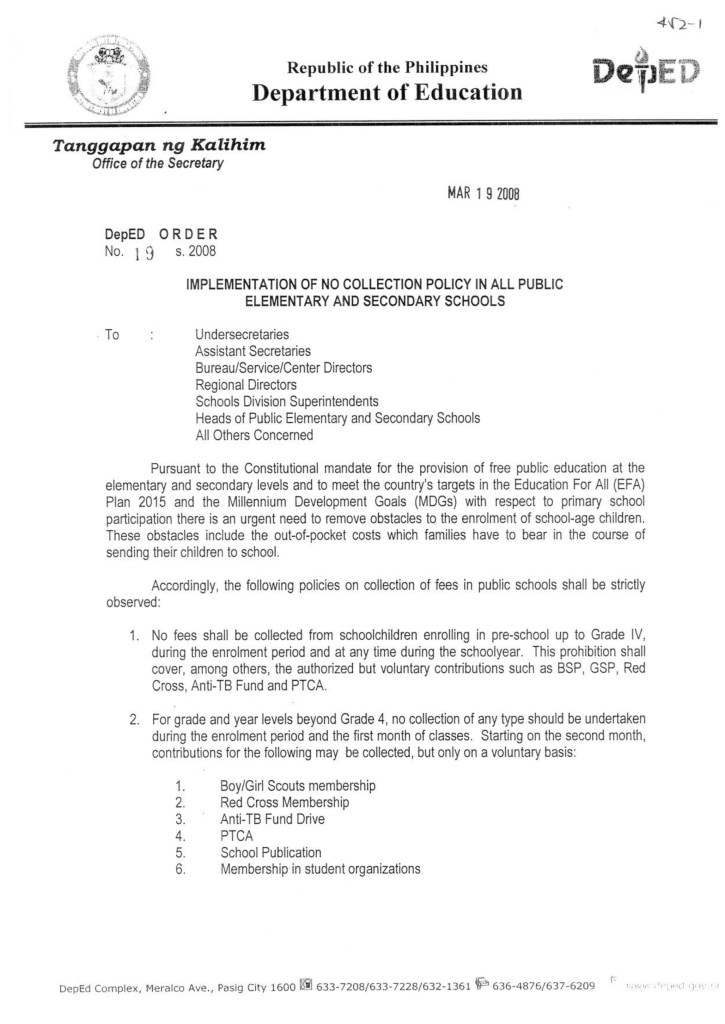 DepEd Order on No Collection Policy in All Public Elementary and Secondary Schools