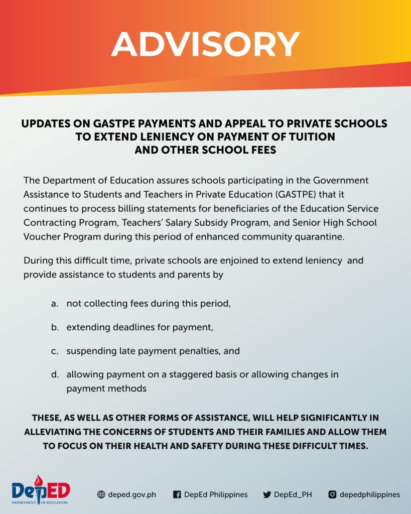 DepEd Updates on GASTPE Payments and Appeal to Private Schools to Extend Leniency on Payment of Tuition and Other School Fees
