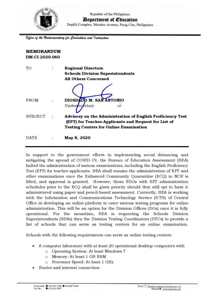 2020 DepEd Advisory on the Administration of English Proficiency Test (EPT) for Teacher-Applicants