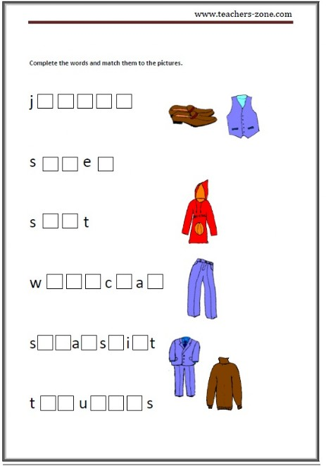 Free Clothes Worksheets