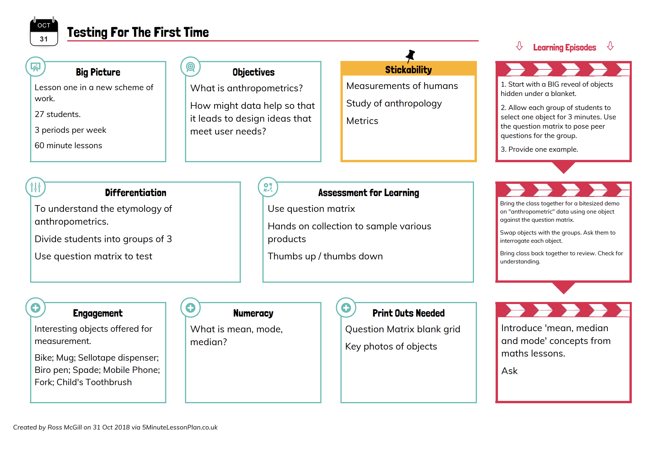 The Famous 5 Minute Lesson Plan By Teachertoolkit