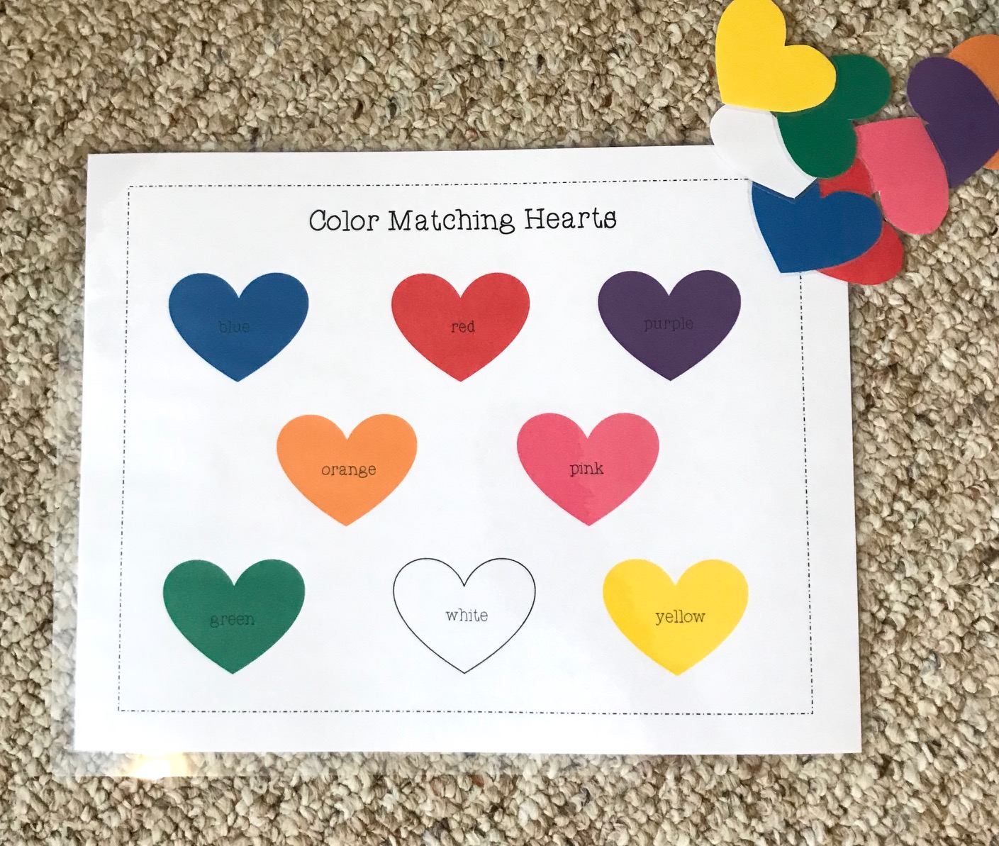 Materials Valentinesday Color Match Toddler Activity