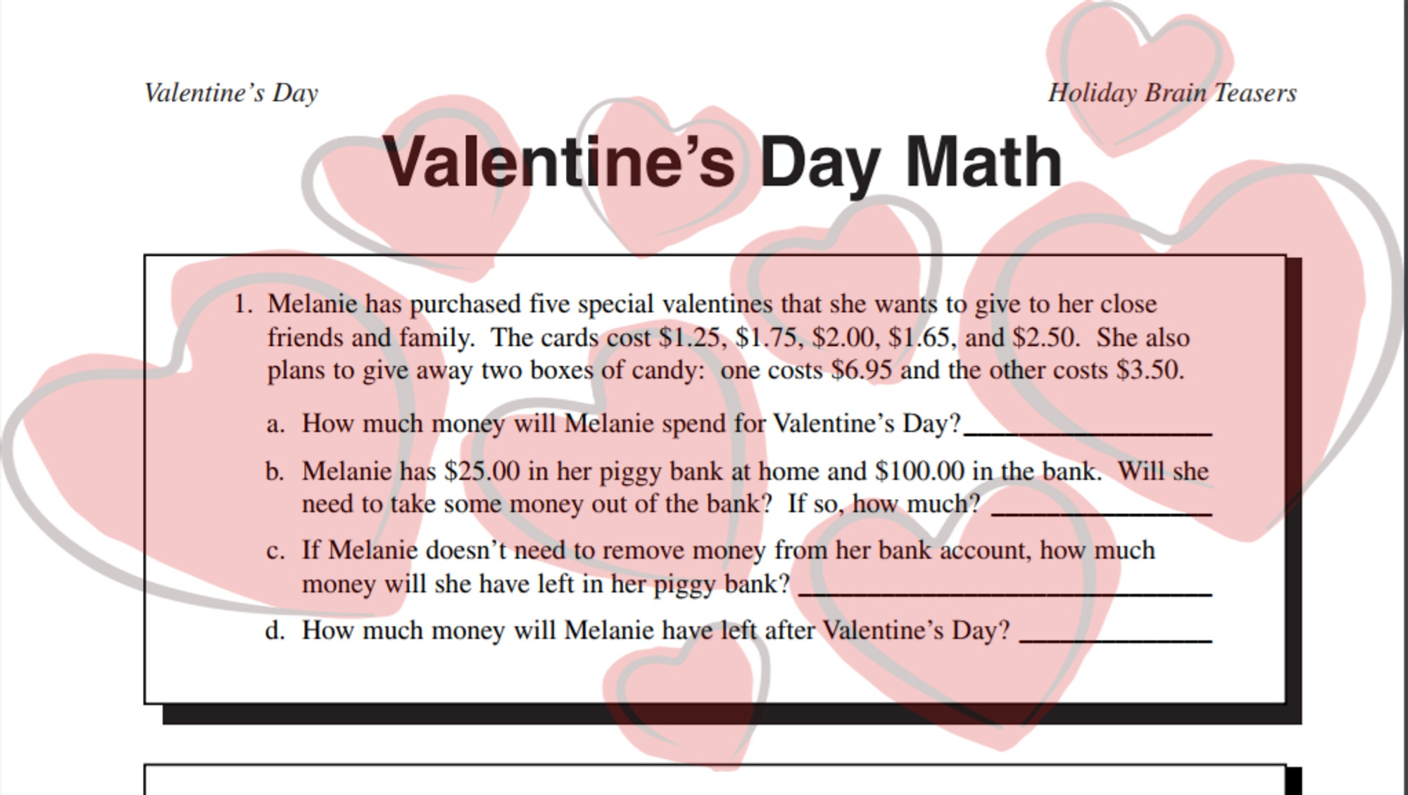 Valentine S Day Math Word Problems