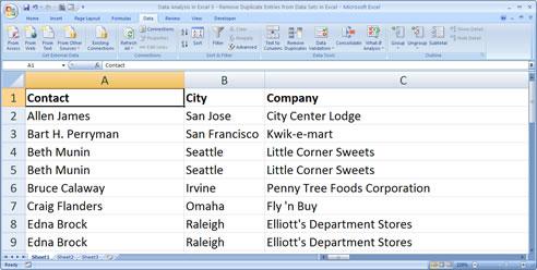 Excel Worksheet After Sort