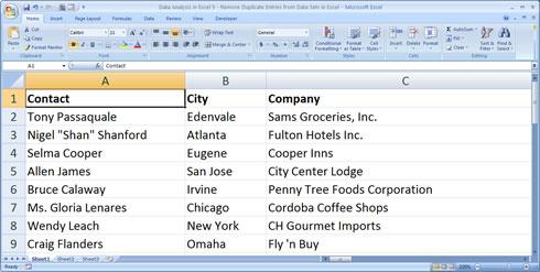 Excel Worksheet Before Sort