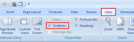 Remove Gridlines in Excel 2007